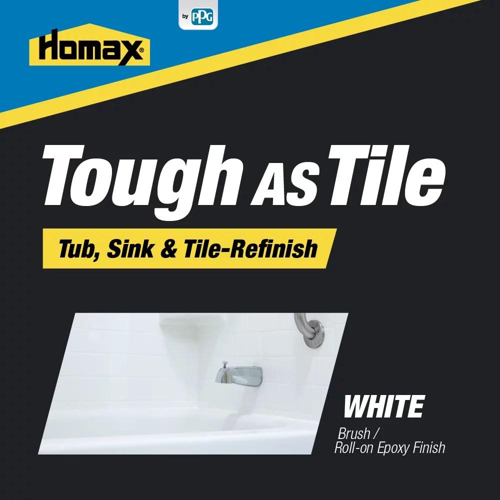 homax white tough as tile tub sink tile refinish brush on epoxy 26 ounces white