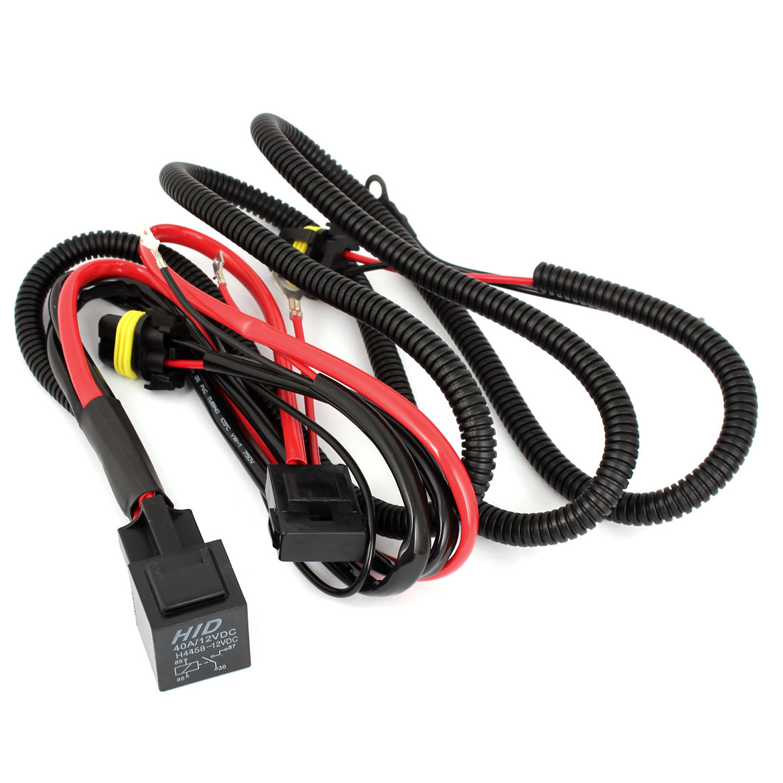 unique bargains relay wiring harness w fuse for hid xenon kit high beam h1 40a 12v [ 1100 x 1100 Pixel ]