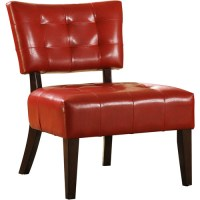 Tufted Accent Chair, Red Faux Leather - Walmart.com