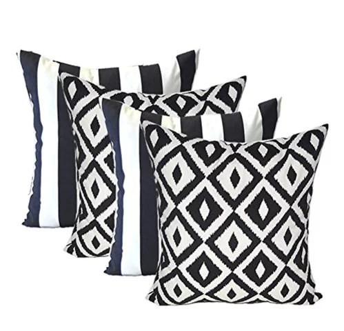 rsh decor indoor outdoor set of 4 square pillows weather resistant 20 x 20 black white stripe and black white aztec walmart com