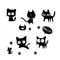 Unique Bargains Black Cats Pattern Removable Wall Sticker ...