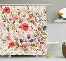 Shabby Chic Shower Curtain Watercolor Abstract Spring Poppies Flowers Roses Buds Leaves Romantic Print Fabric Bathroom Set With Hooks Multicolor
