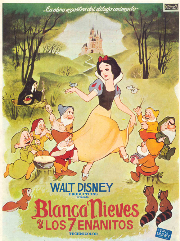 snow white and the seven dwarfs 1937 11x17 movie poster spanish