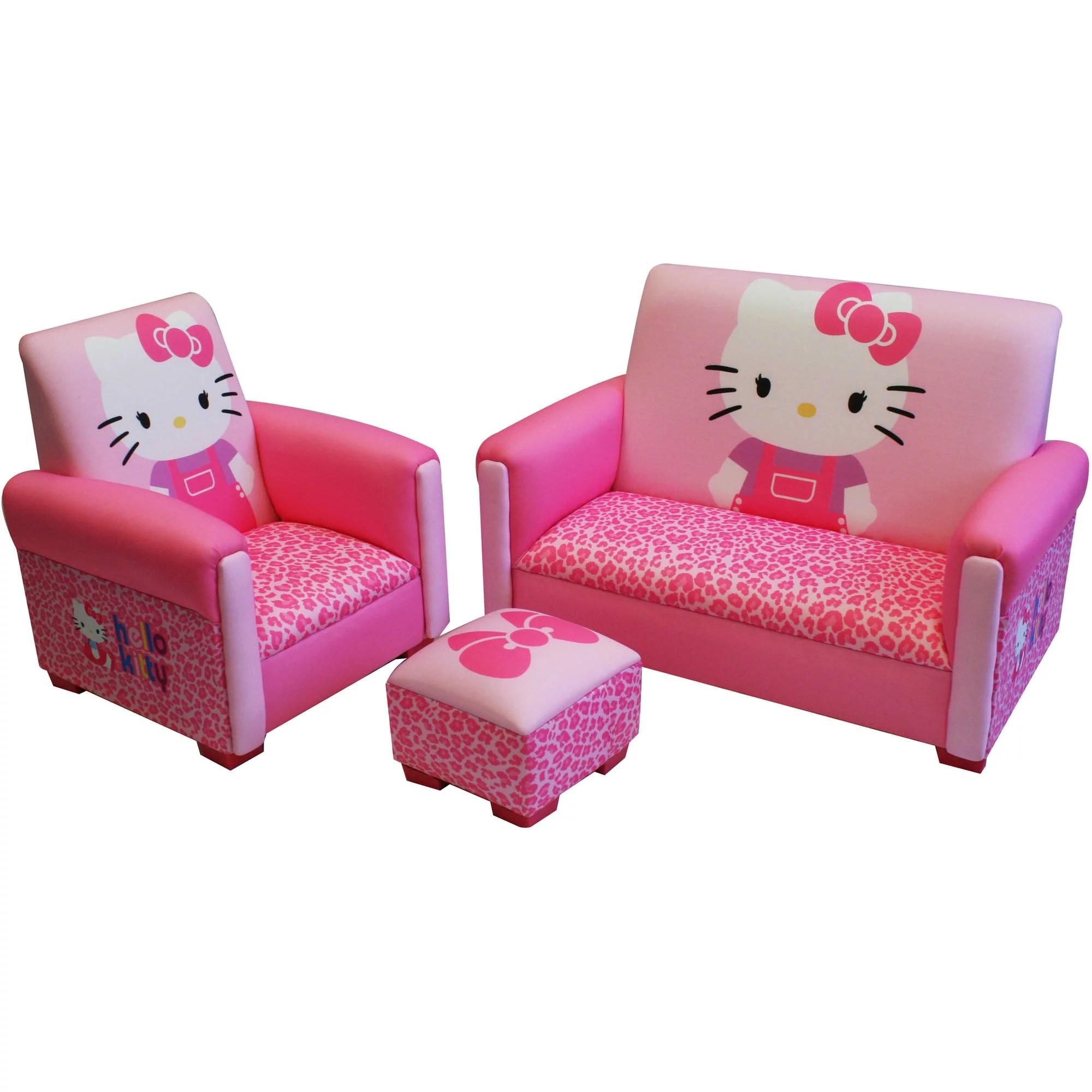 Hello Kitty Bows Toddler 3 Piece Sofa Chair And Ottoman