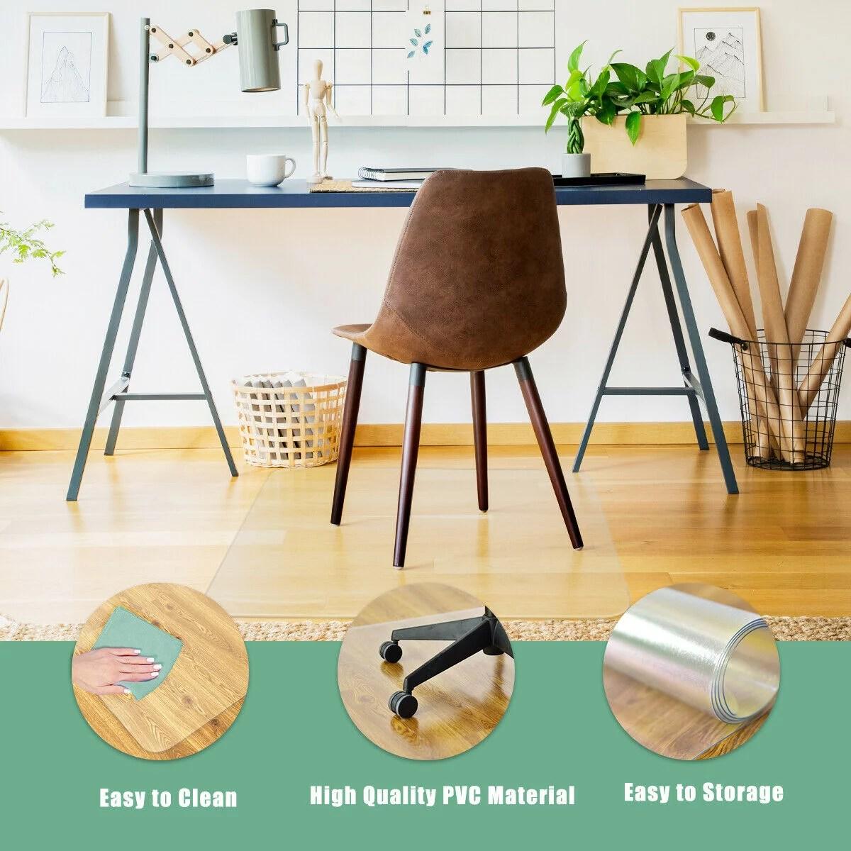 costway tapis protege sol transparent et antiderapant en pvc pour les chaises a roulettes rectangulaire 150x120cm