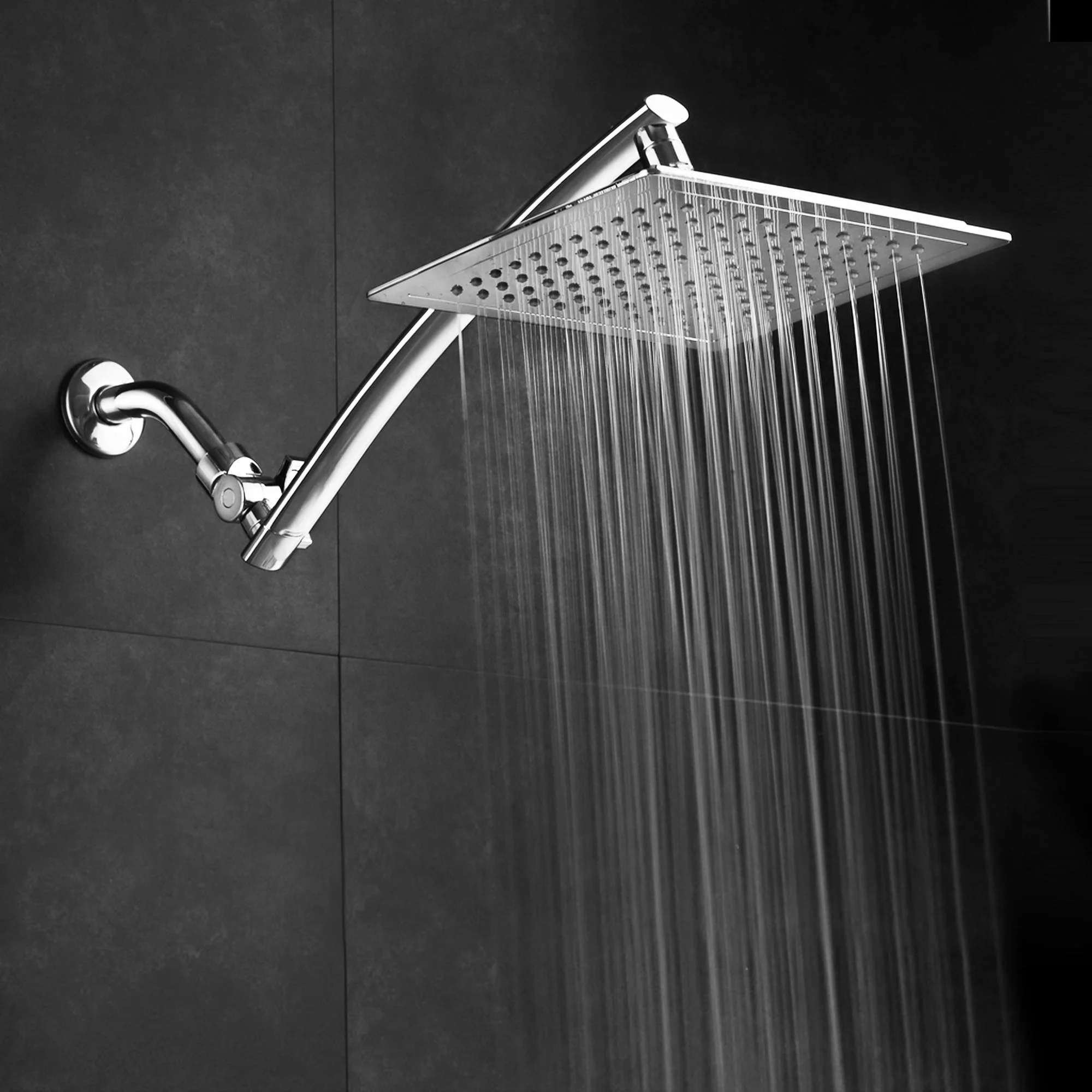 Razor By Aquaspa Mega Size 9 Inch Chrome Face Square Rainfall Shower With Arch Design 15 Inch Stainless Steel Extension Arm Premium Chrome