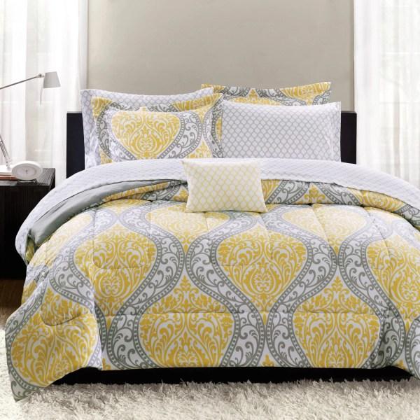 Yellow and Grey Comforter Sets Walmart