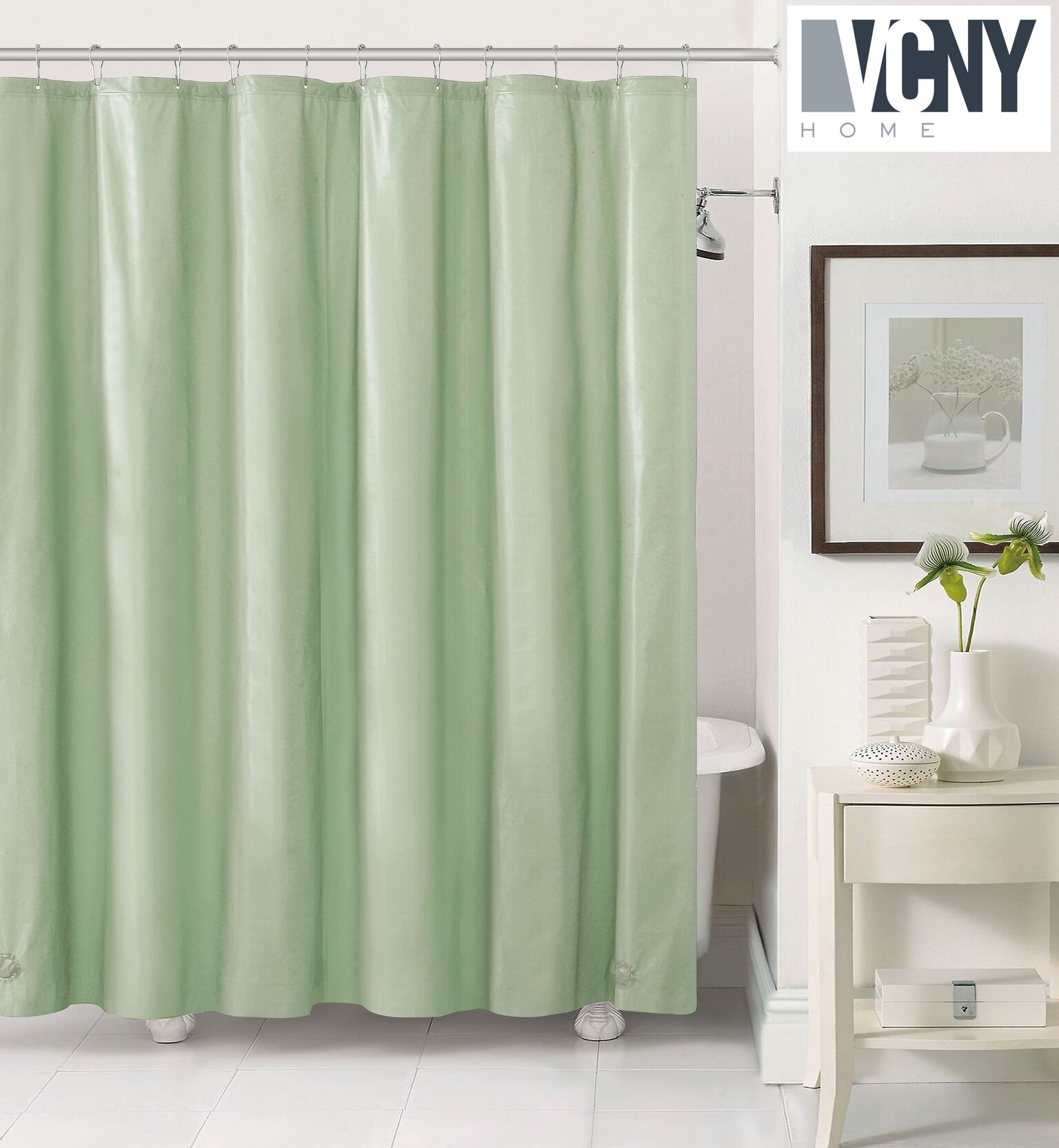 peva plastic shower curtain liners with magnets by victoria classics sage