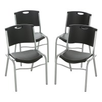 Lifetime Stacking Chair, Black, Set of 4, 42830