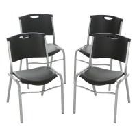 Lifetime Stacking Chair, Black, Set of 4, 42830 - Walmart.com