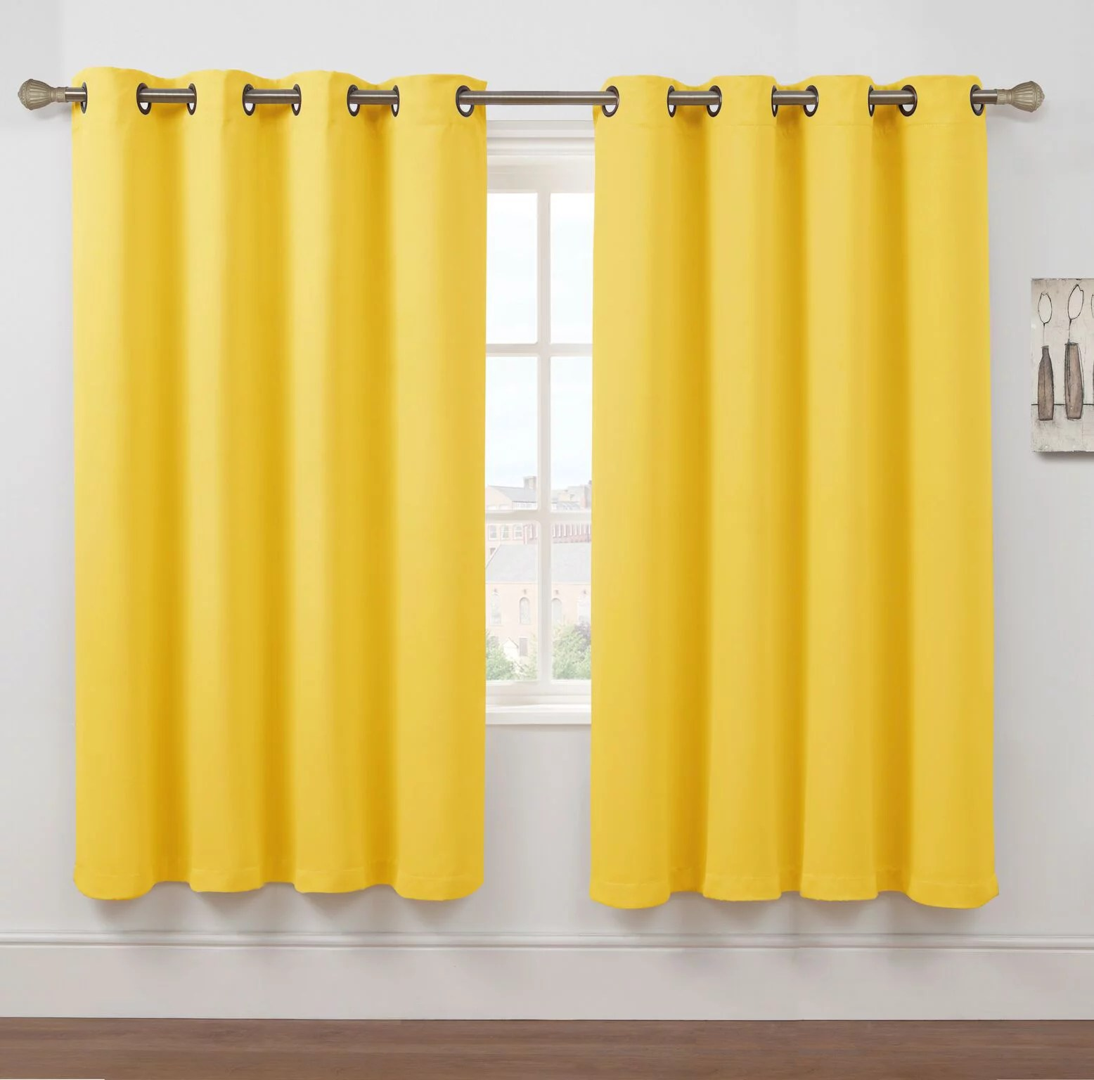 2 pack hotel thermal grommet 100 blackout curtains yellow 63 in length