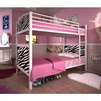 Dorel White Metal Twin Bunk Bed, Zebra