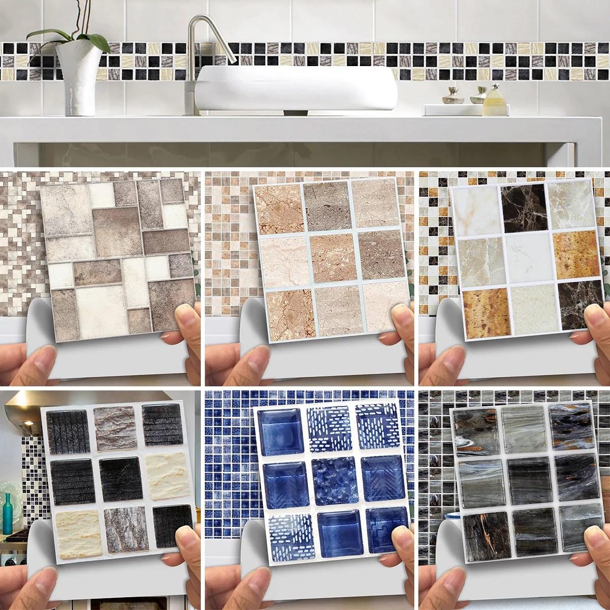 10 10cm 180x self adhesive waterproof marble mosaic wall art tile sticker kitchen bathroom home decor walmart com