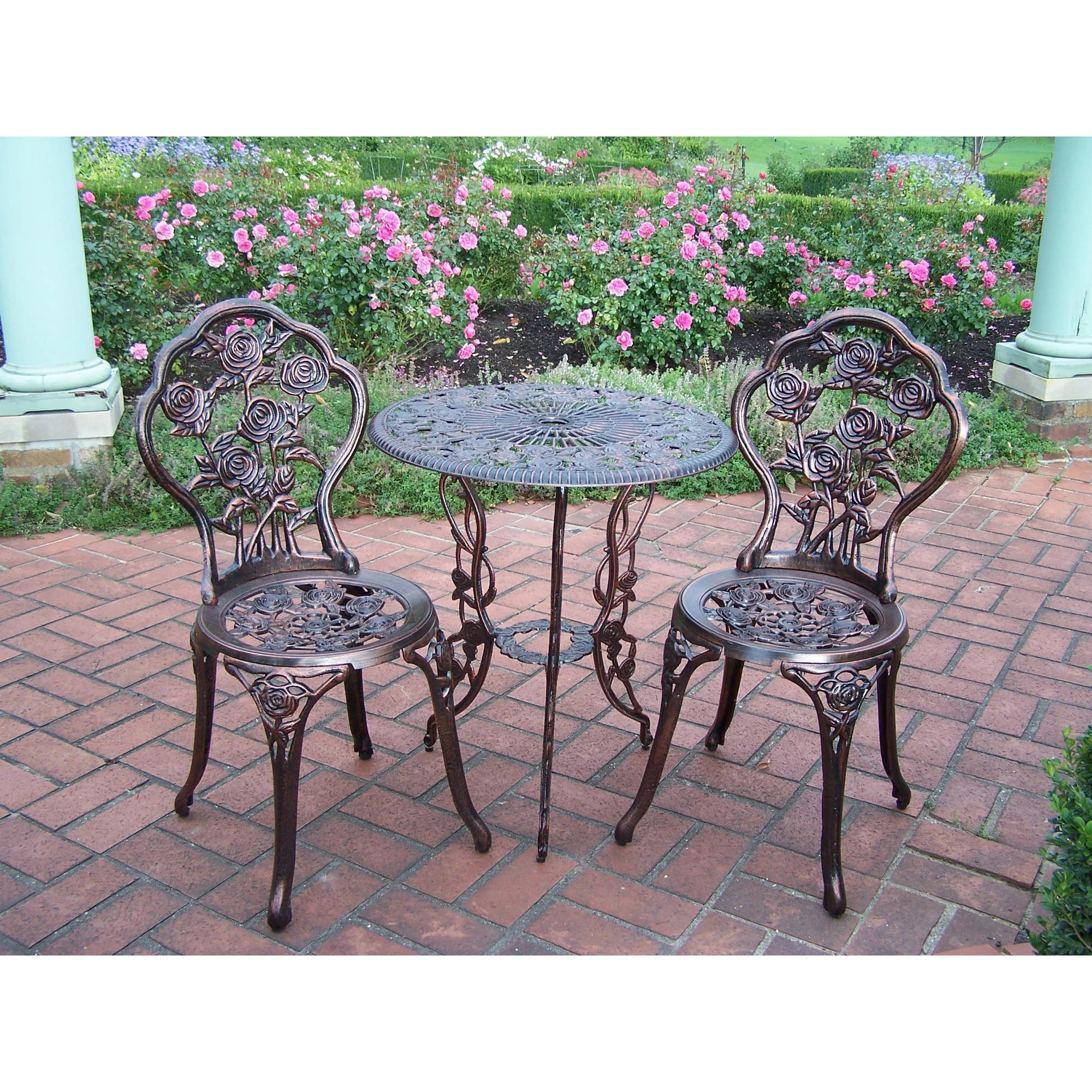 Patio Furniture Set 3 Piece Bistro Wrought Small Iron