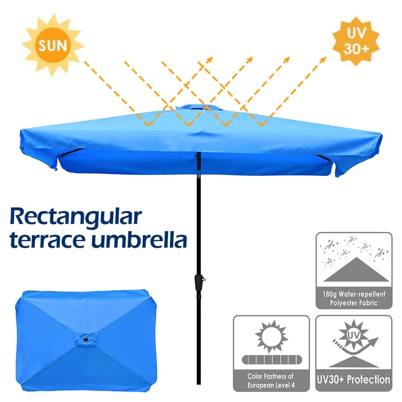 hotbest rectangle patio umbrella canopy replacement waterproof polyester fabric outdoor uv protection table sunbrella cover