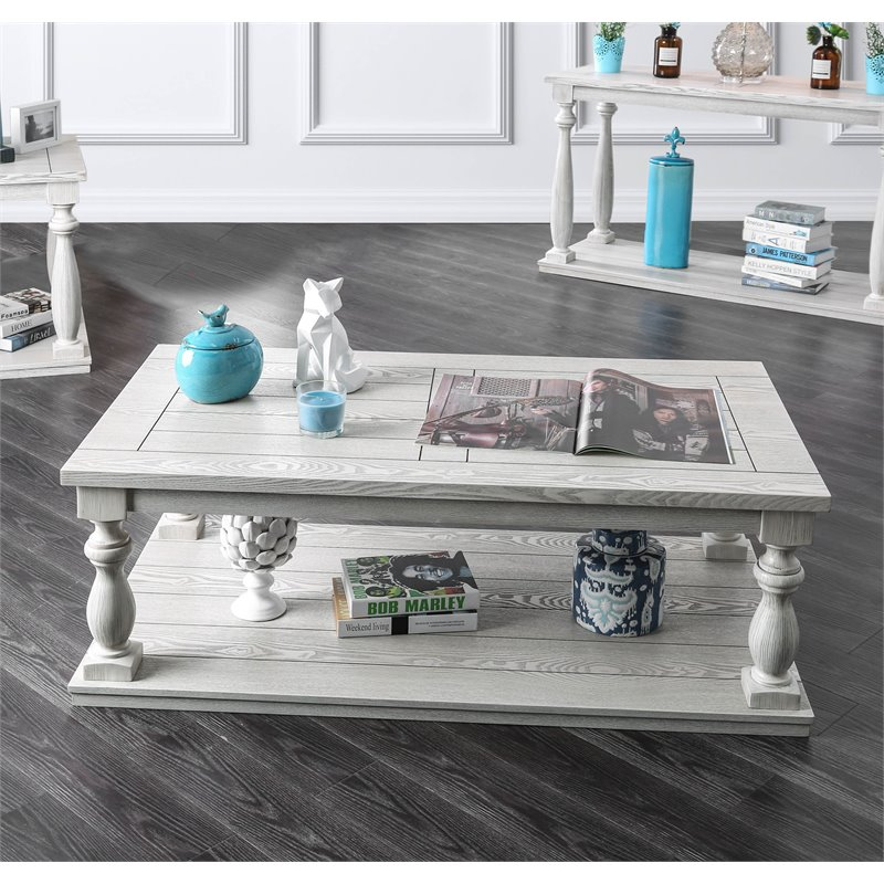 furniture of america lynton rustic wood coffee table in antique white walmart com