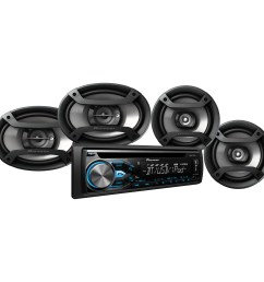 pioneer dxt x4869bt bluetooth cd car stereo receiver bundle with two 6 5 speakers and [ 2000 x 2000 Pixel ]