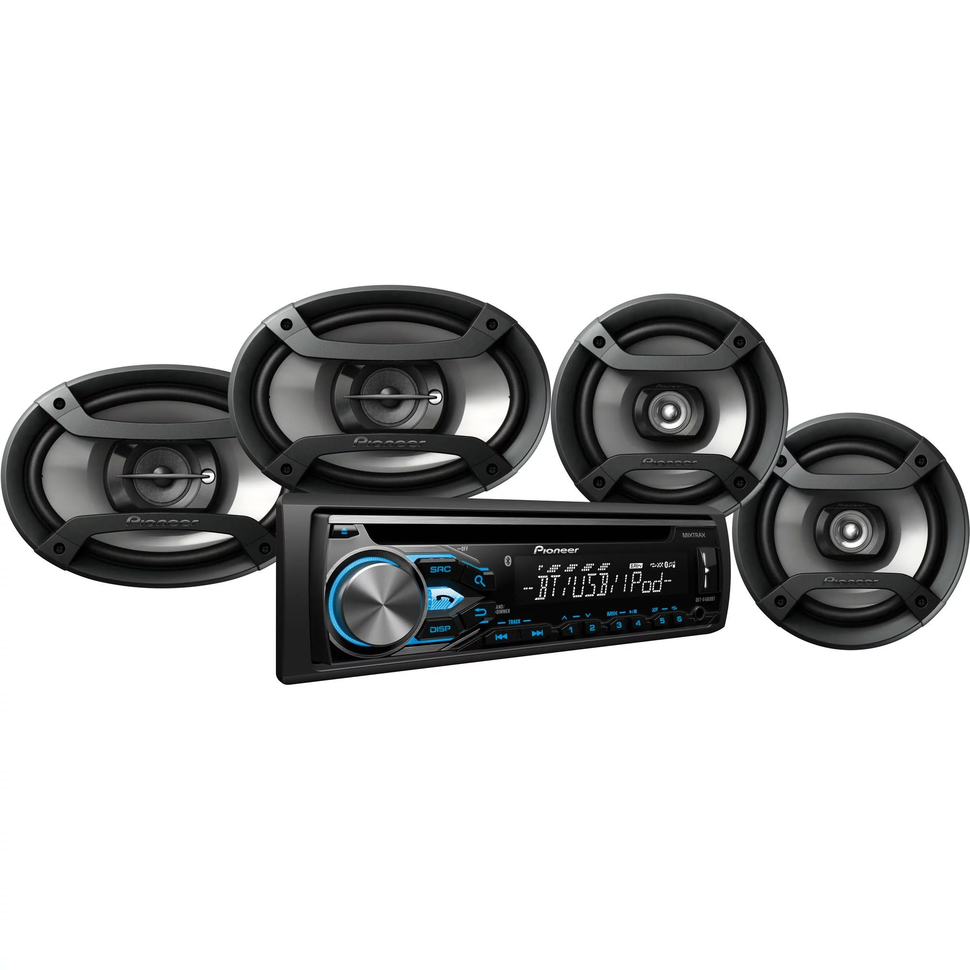 hight resolution of pioneer dxt x4869bt bluetooth cd car stereo receiver bundle with two 6 5 speakers and