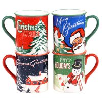 certified international retro christmas 4-pc. mug set ...