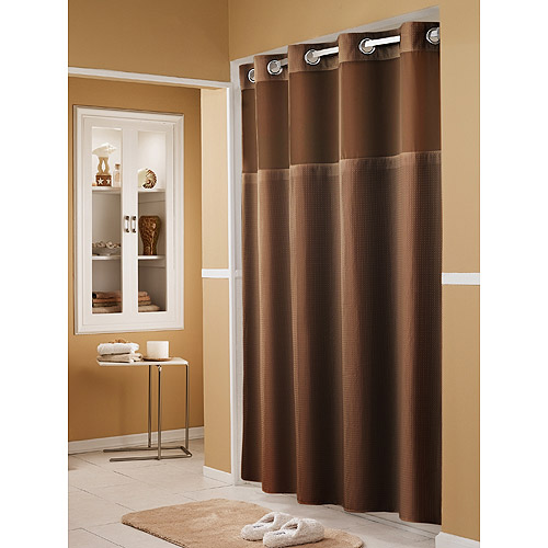 hookless waffle 71 inch x 74 inch fabric shower curtain and liner set in chocolate