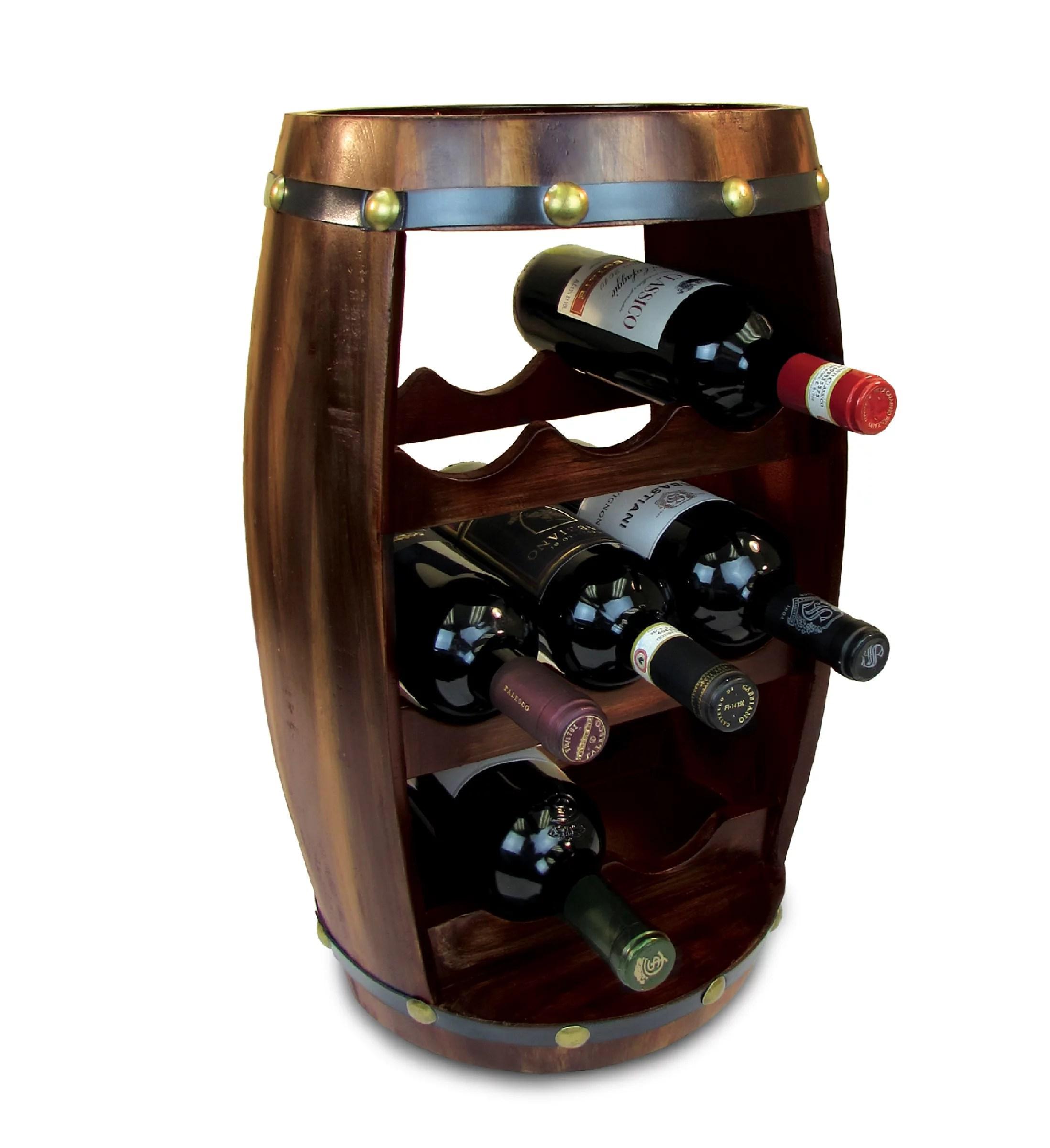 puzzled alexander wine rack 8 bottle free standing wine holder bottle rack floor stand or countertop wine wooden barrel decor storage organizer liquor