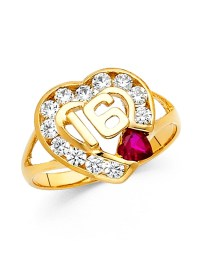 GemApex - Sweet 16 Ring Solid 14k Yellow Gold Heart Band ...