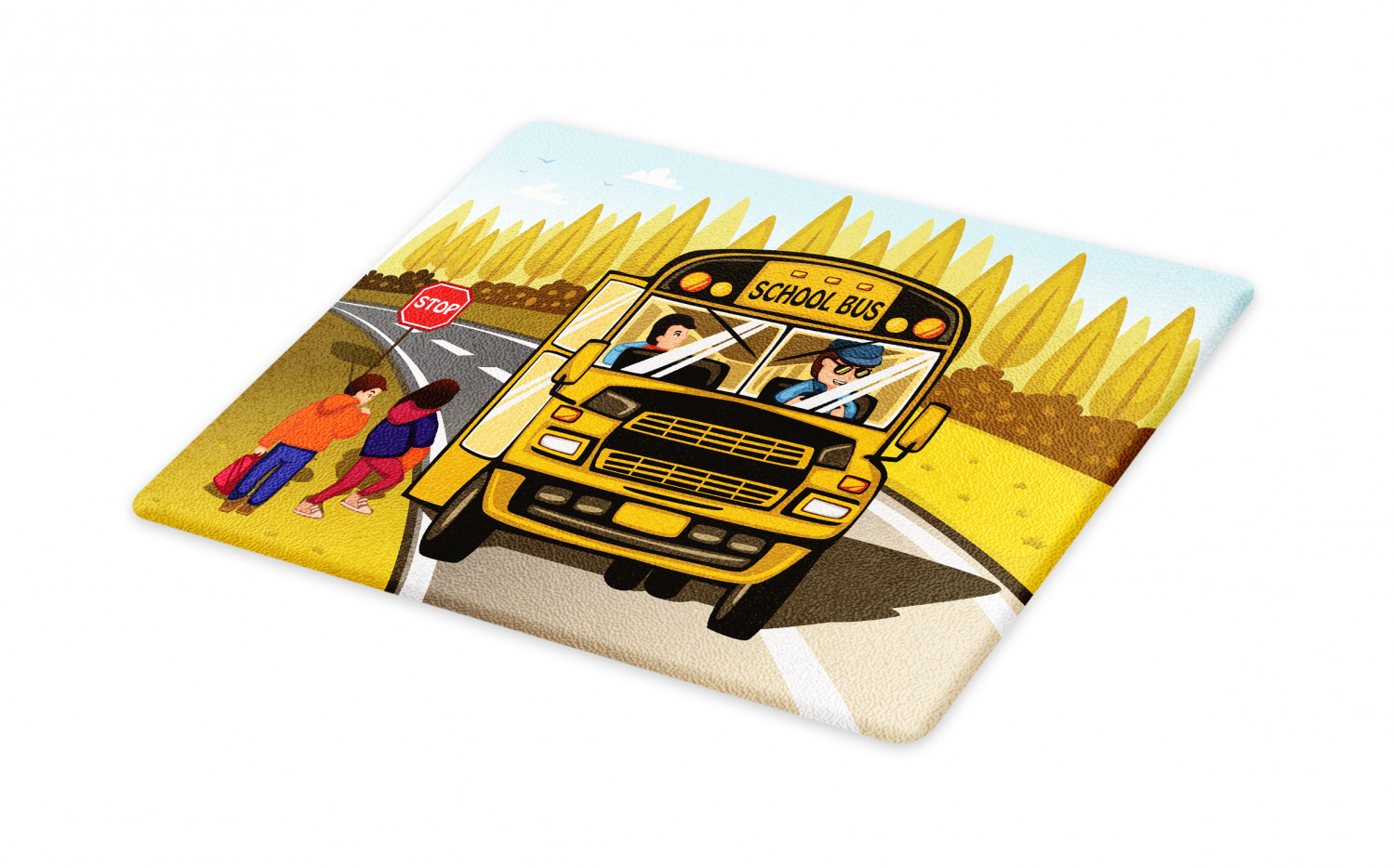 School Bus Cutting Board Children Going On The Bus