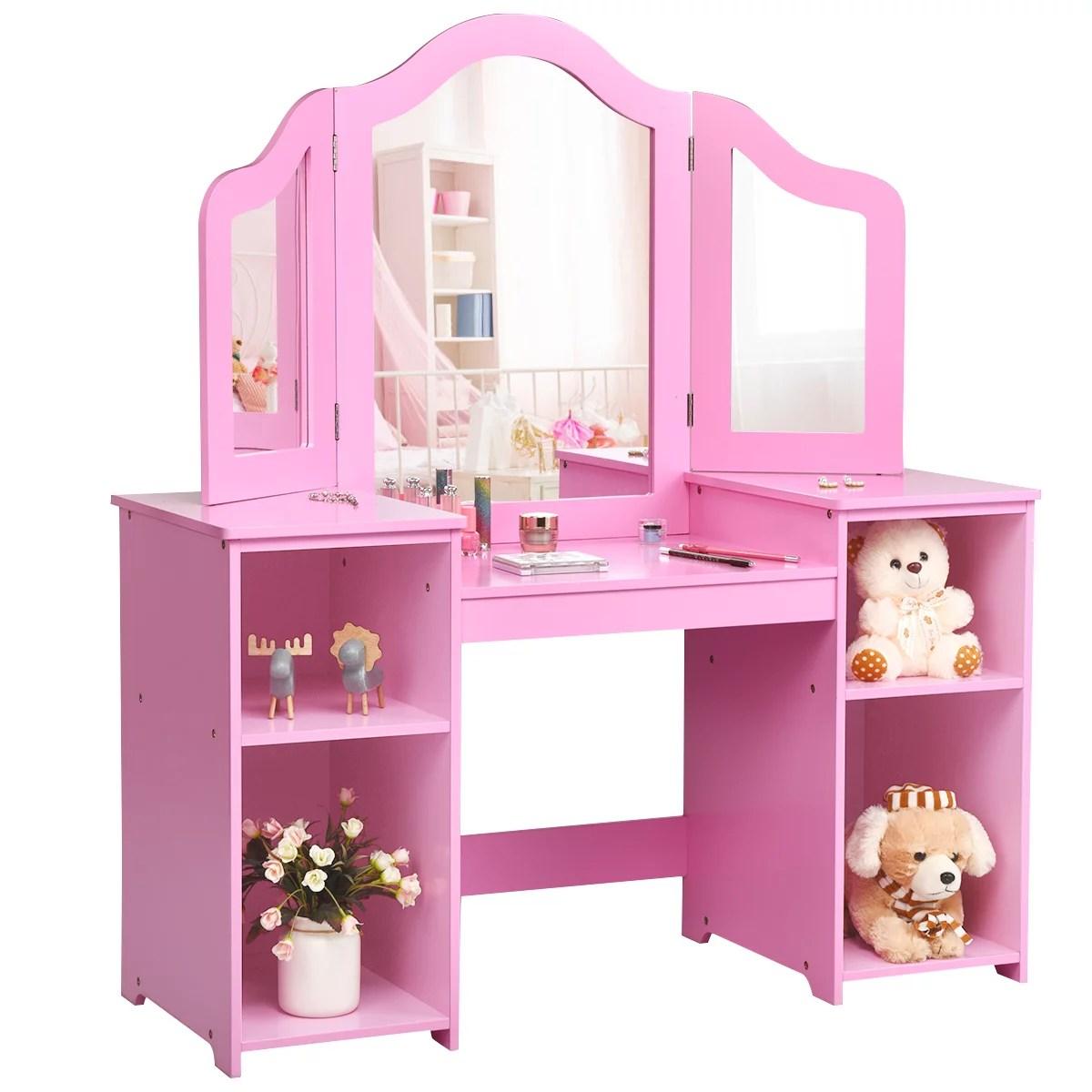 costway vanity table set makeup dressing kids girls study table tri folding mirror whitepink