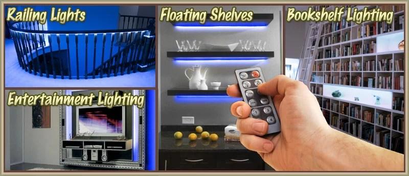 living room led lighting rattan furniture biltek 3 ft blue tv television strip dimmer remote wall plug 110v behind couch units fireplaces