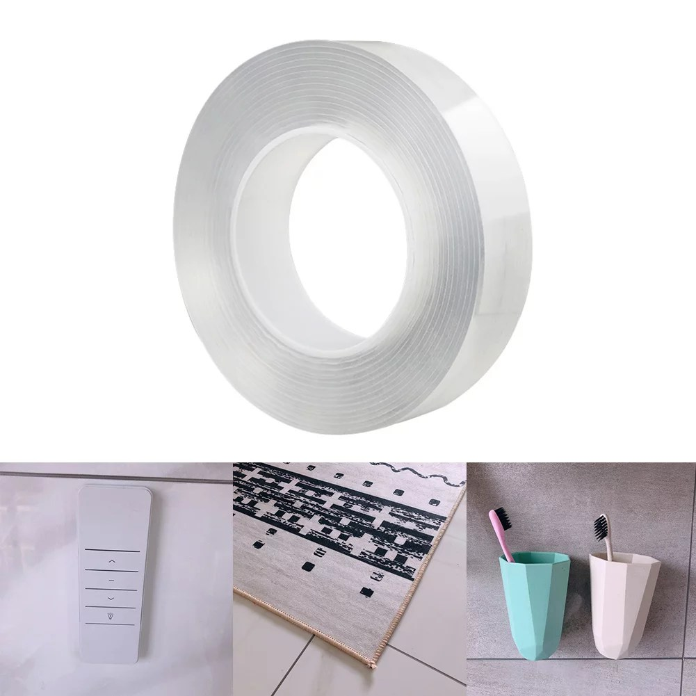 nano tape double sided adhesive manfiter wall tape gel sticky tack clear traceless washable reusable picture hanging strips for paste photos poster