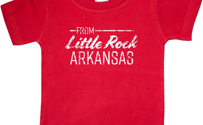 From Little Rock Arkansas In White Distressed Text Baby T