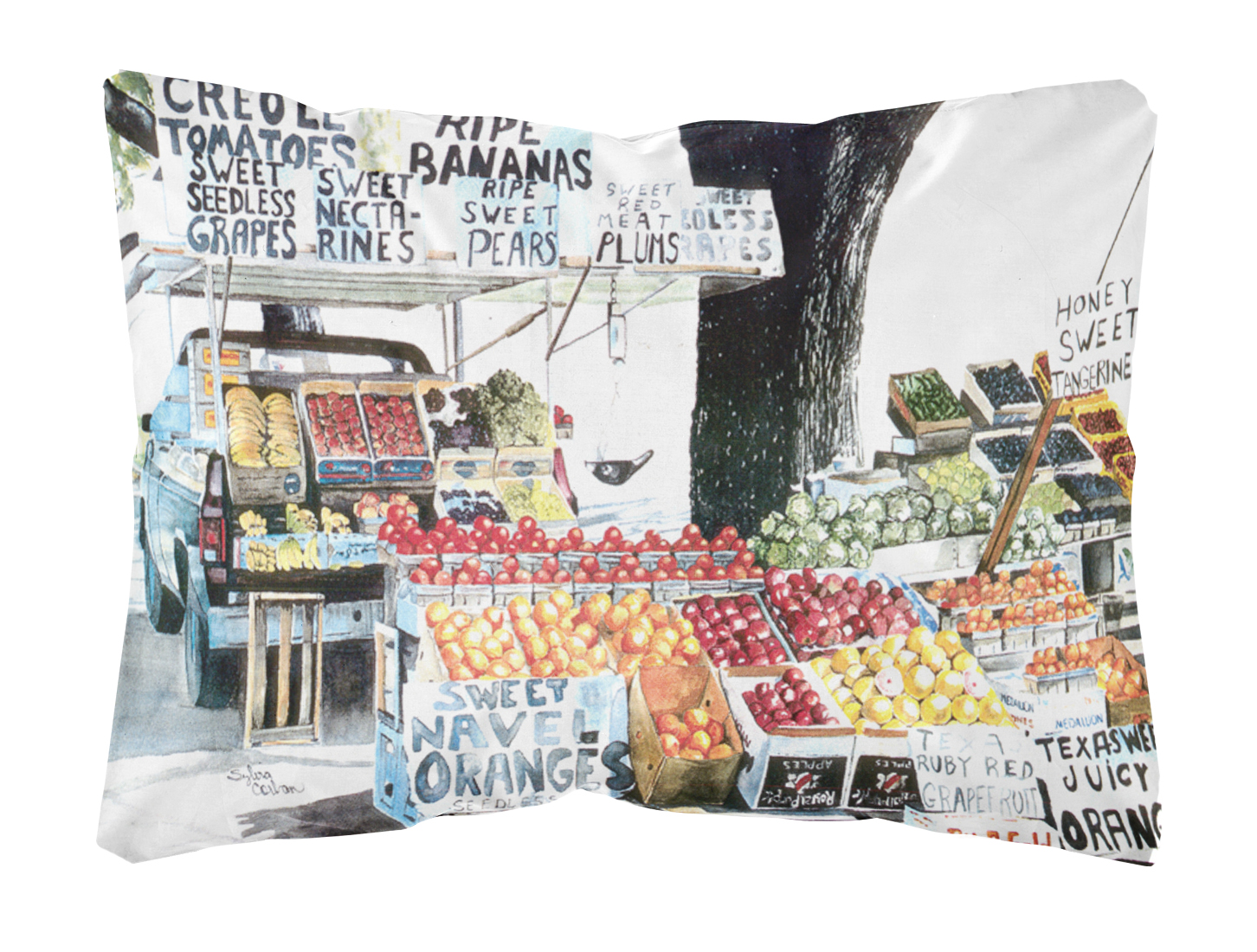 fruit stand canvas fabric decorative pillow