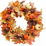 Artificial Flower Wreath Autumn Wreath With Pumpkins Pinecone Berry For Front Door Artificial Flowers Garland For Halloween Thanksgiving Decor Type A Walmart Canada