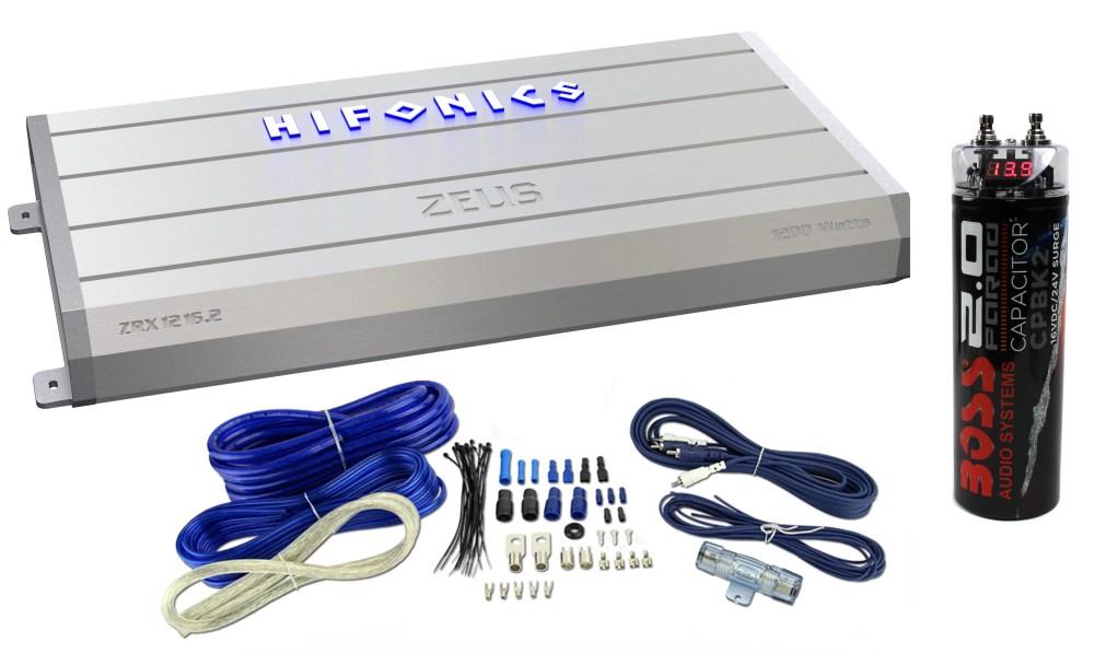 medium resolution of hifonics zeus 1200 watt 2 channel car stereo power amplifier wiring kit cap walmart com