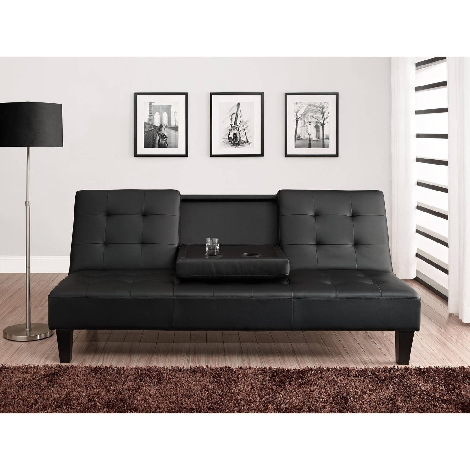 julia cupholder convertible futon black