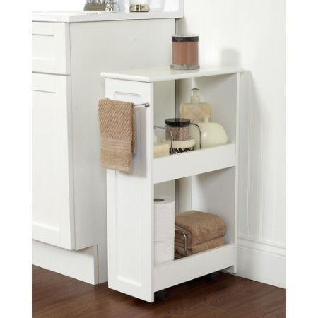 zenith products 2-shelf rolling bath cart, white - walmart