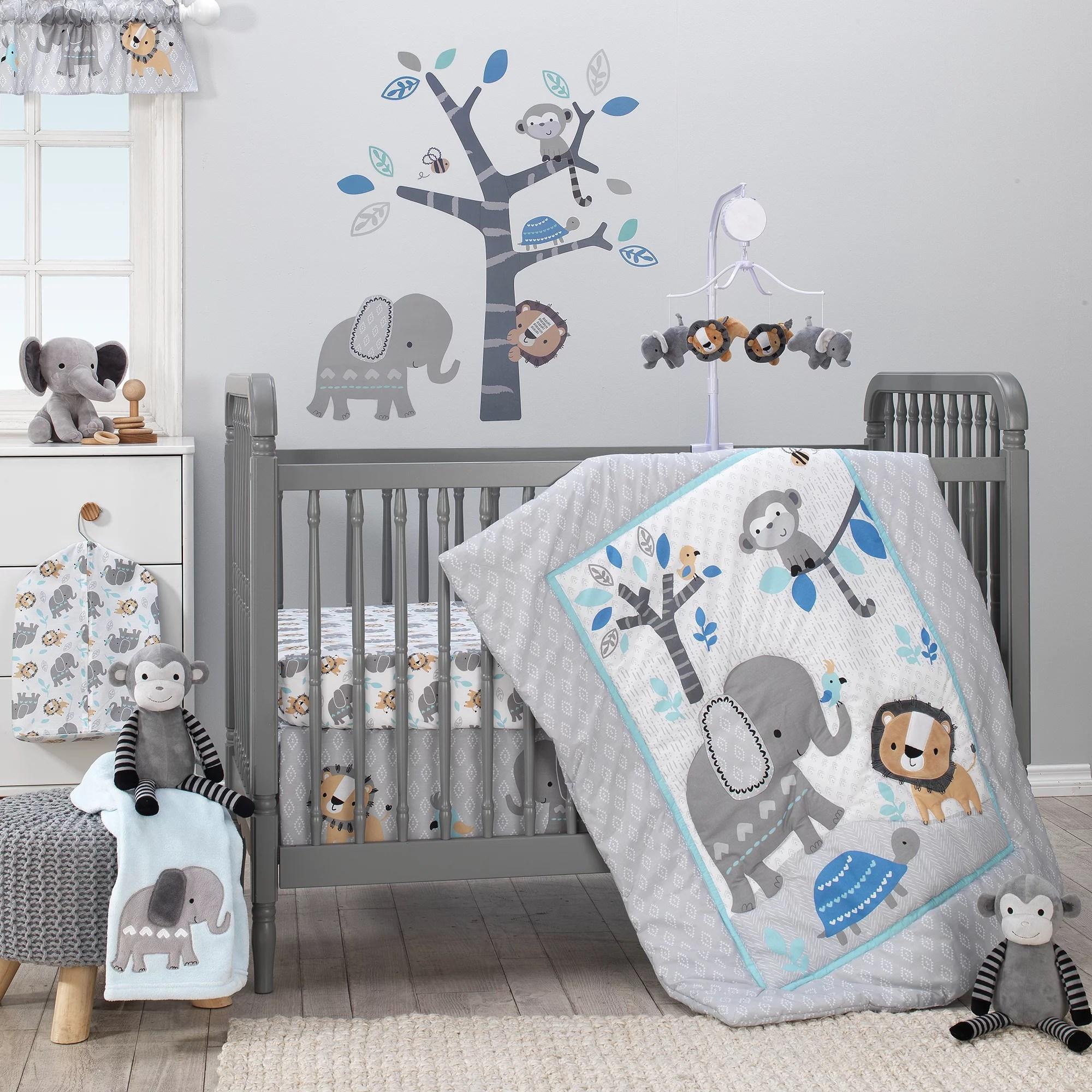 bedtime originals jungle fun 3 piece crib bedding set blue gray white walmart com walmart com