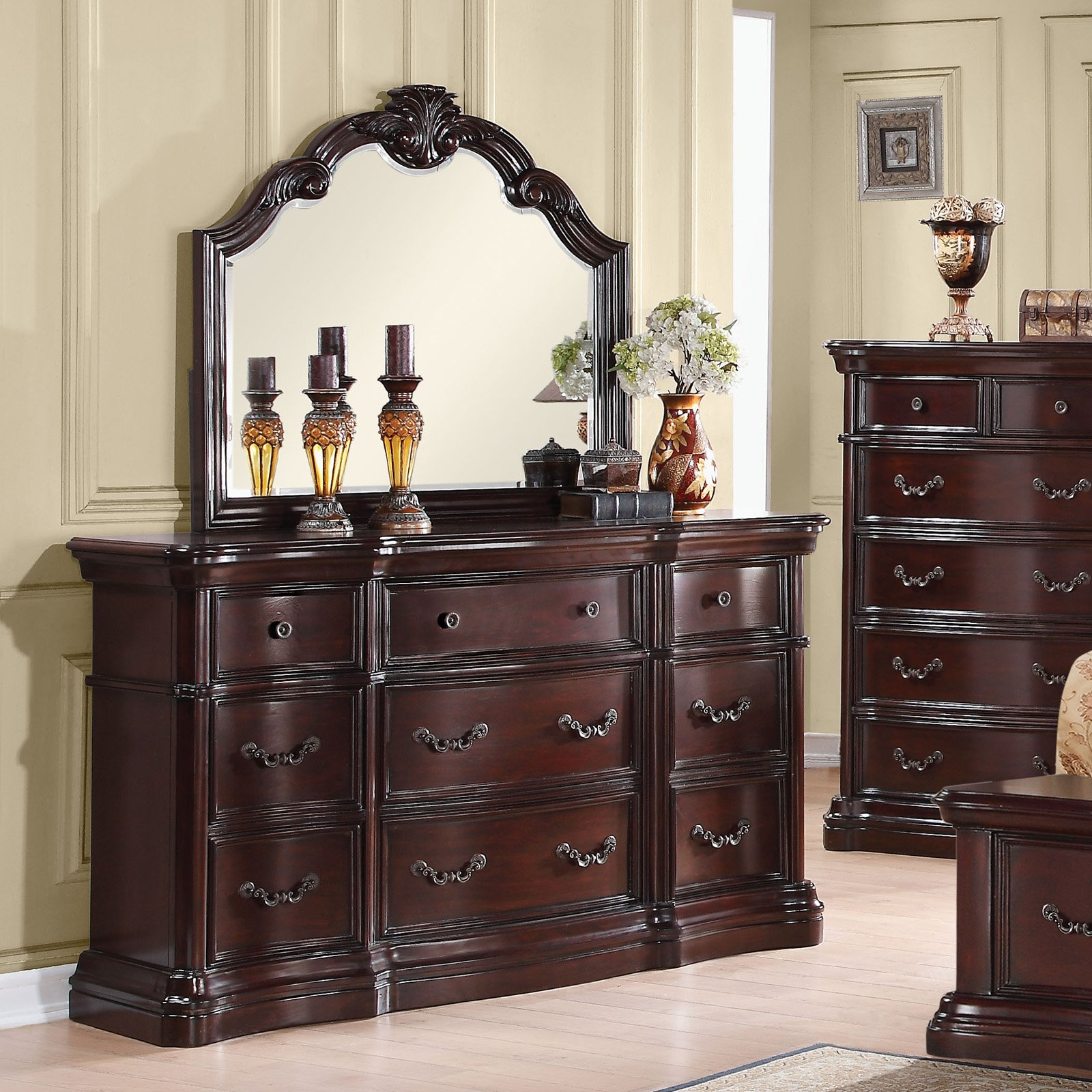acme furniture veradisia dark cherry dresser with nine drawers walmart com