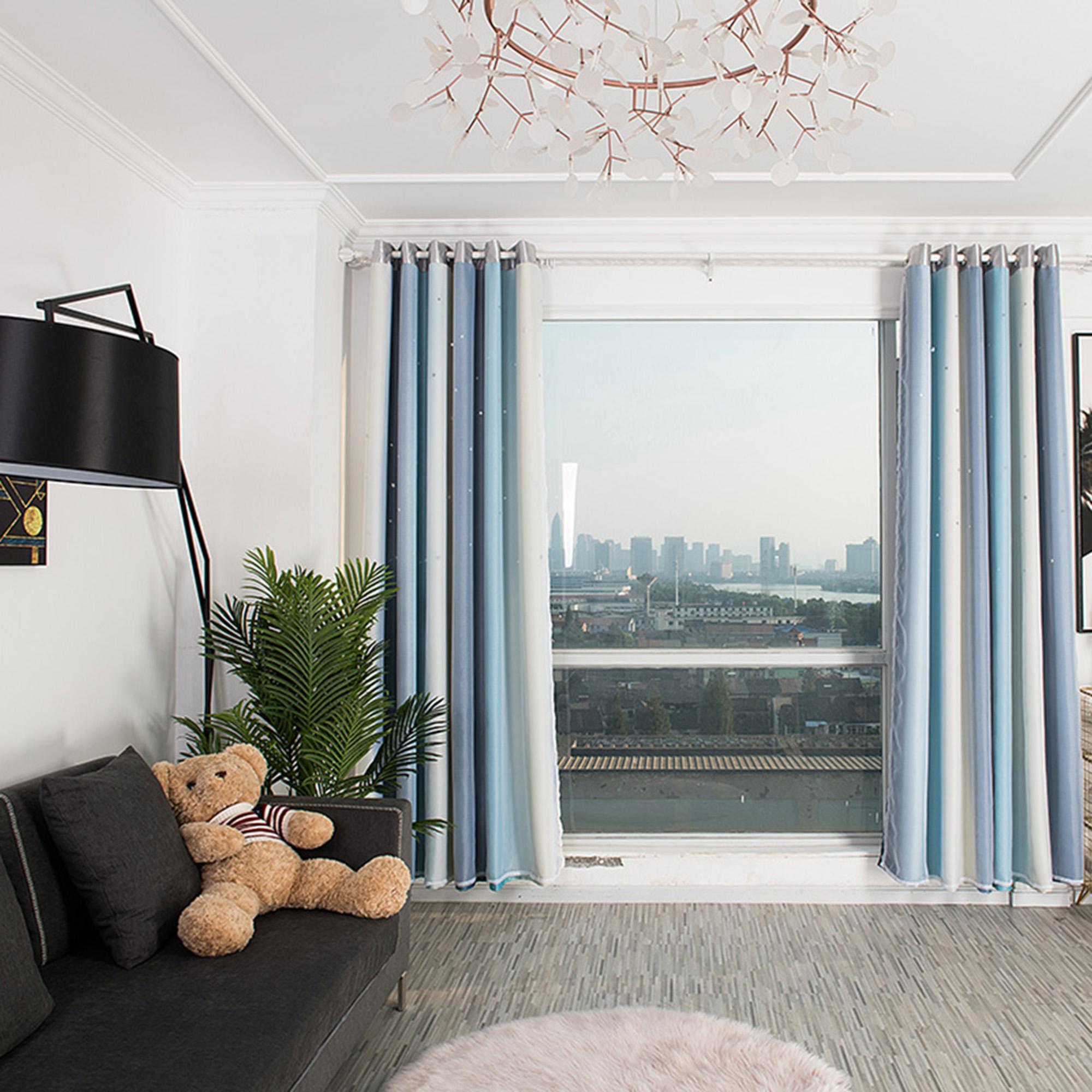 2 couches etoiles tulle rideaux occultants chambre degrade assombrissement starry girls chambre d enfants