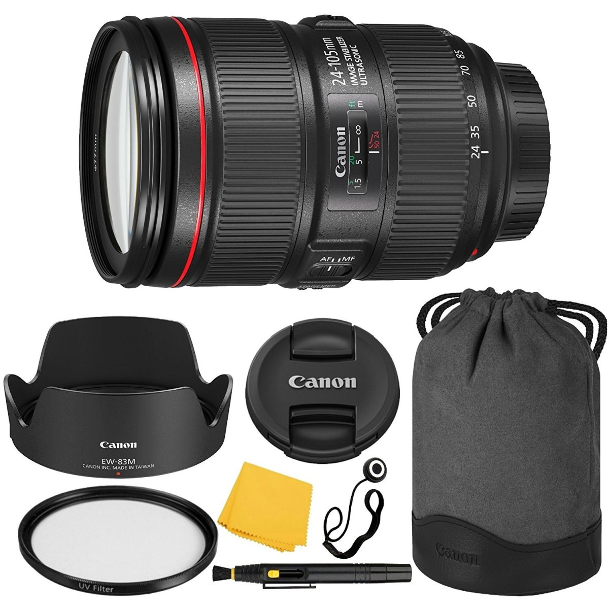 Canon EF 24–105mm f/4L IS II USM Lens + UV Filter + Collapsible Rubber Lens Hood + Lens Cleaning Pen + Lens Cap Keeper + Cleaning Cloth - 24-105mm II IS: Ultrasonics Motor
