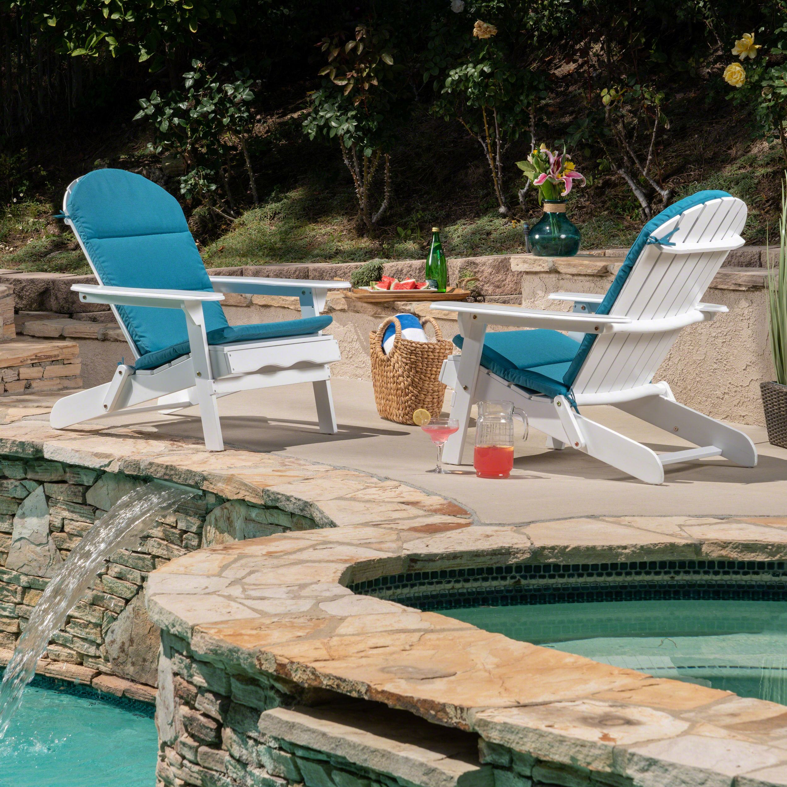 Teal Adirondack Chairs Ariel Outdoor Acacia Wood Adirondack Chairs With Cushions