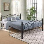 Victorian Queen Size 12 6 Metal Platform Bed Frame With Two Headboards Under Bed Storage Easy Assembly Walmart Com Walmart Com