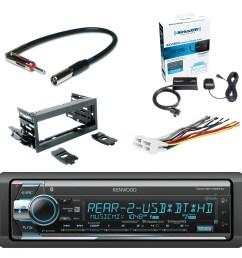 kenwood single din cd am fm car audio receiver with bluetooth siriusxm satellite radio vehicle tuner kit scosche dash kit scosche gm micro delco antenna  [ 1500 x 1500 Pixel ]