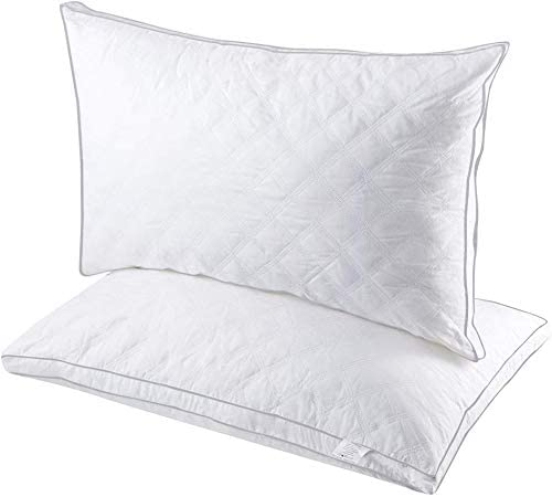 gusseted quilted bed pillows extra firm queen light grey piping set of 2 premium bed pillows for side back sleepers and neck support luxurious