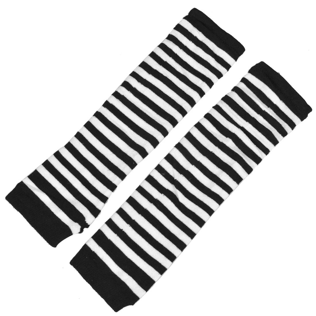 Women Black White Stripe Pattern Thumbhole Fingerless