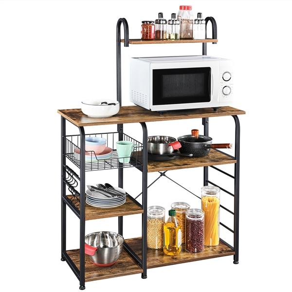 yaheetech 35 5 h baker s rack for kitchen rustic utility storage shelf unit with 7 storage shelves 6 hooks microwave stand spice rack