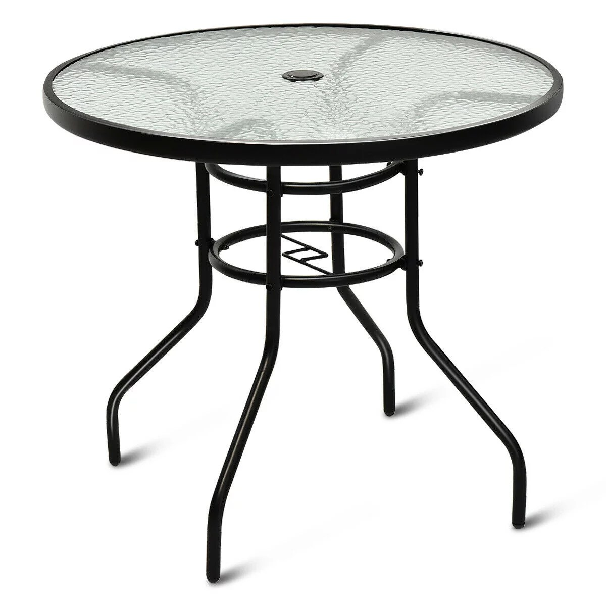 costway 32 patio round table tempered glass steel frame outdoor pool yard garden