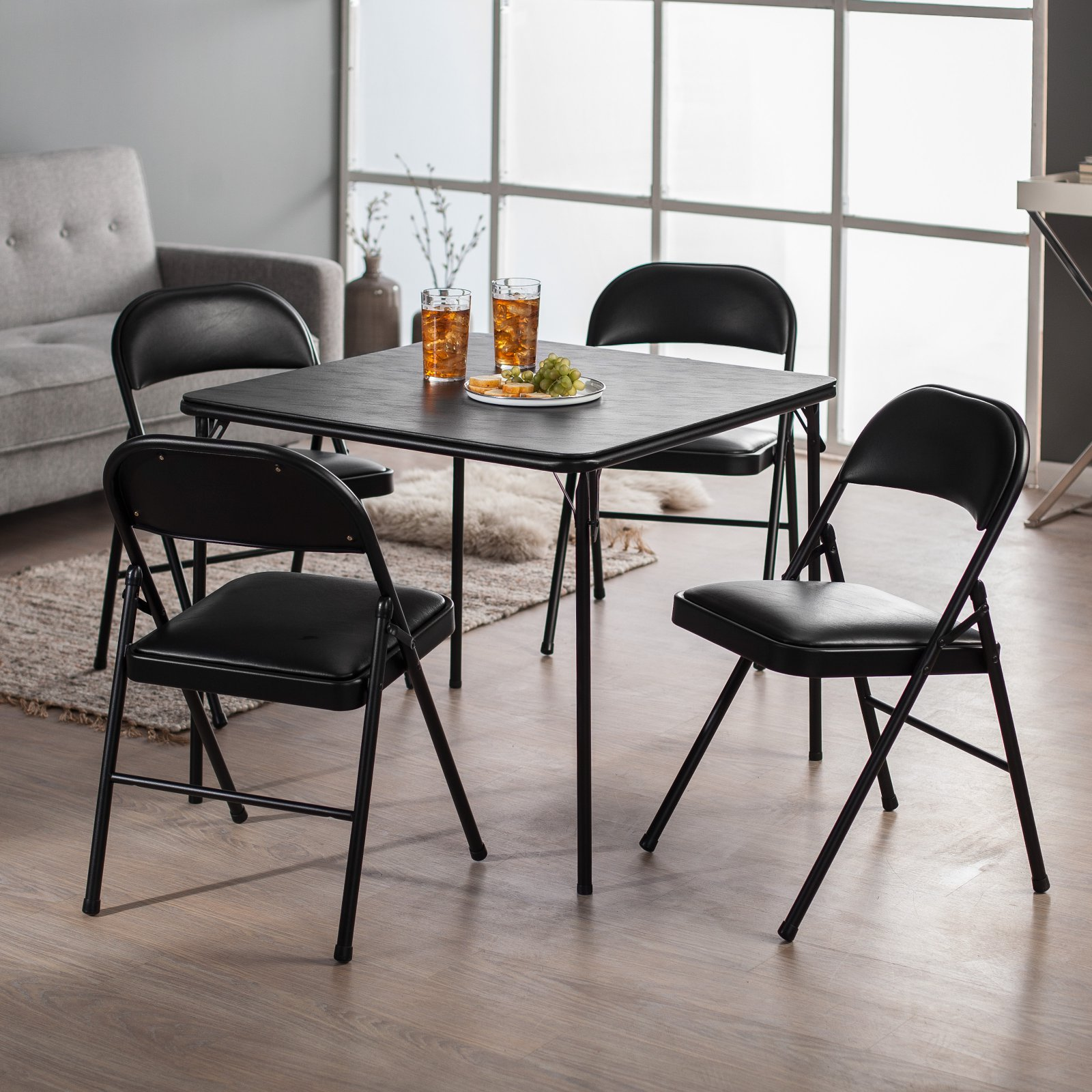 cosco card table and chairs recall recycled plastic adirondack chair tables walmart com product image meco sudden comfort deluxe double padded back 5 piece set