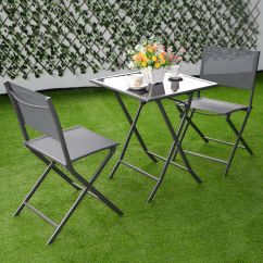 Outdoor Bistro Table And Chairs Set Target Bungee Chair Costway 3 Piece Folding Walmart Com