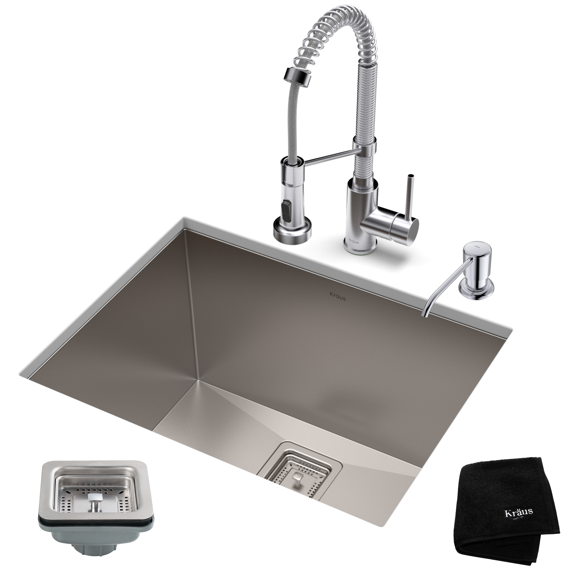 commercial pull down kitchen faucet aunt jemima curtains kraus set with pax stainless steel laundry